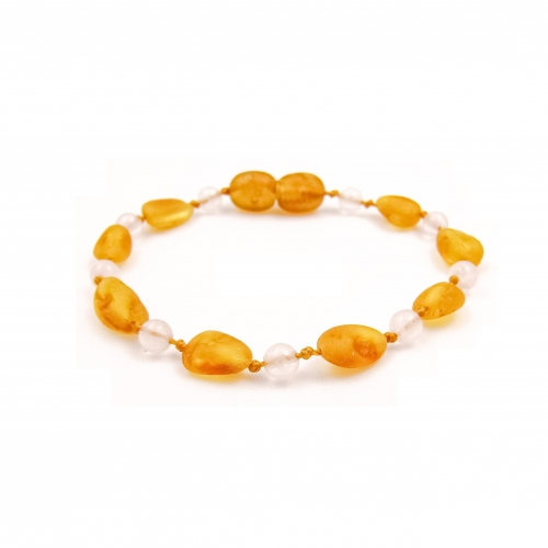 Amber & Rose Quartz Teething Bracelet 1011