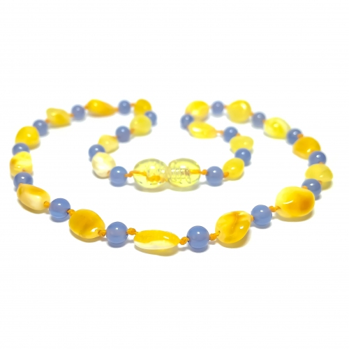 Amber & Chalcedony Teething Necklace 288