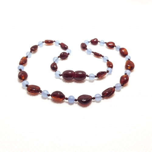 Amber & Chalcedony Teething Necklace 300