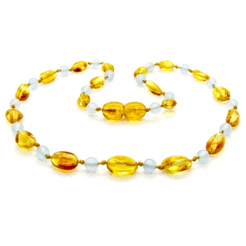 Amber & Chalcedony Teething Necklace 301