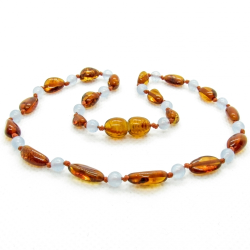 Amber & Chalcedony Teething Necklace 290