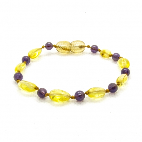 Amber & Purple Amethysts Teething Bracelet 5042