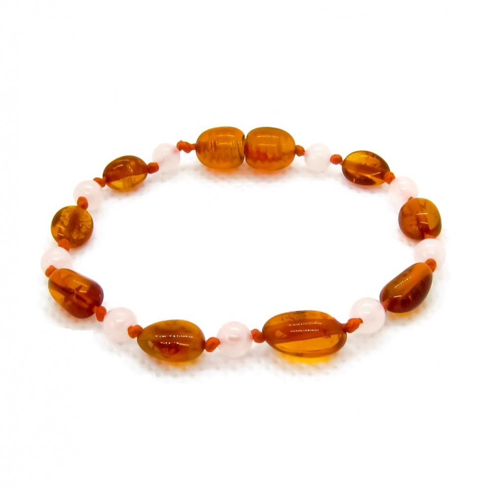Amber & Rose Quartz Teething Bracelet 5081