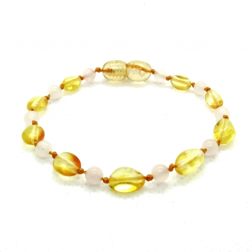 Amber & Rose Quartz Teething Bracelet 504