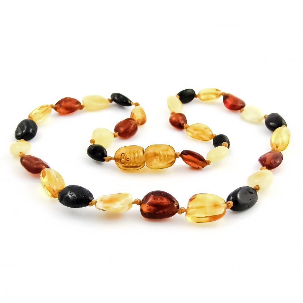 32cm. Polished Amber Beans (Multicolor)