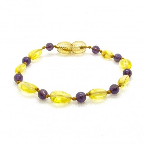 Amber & Purple Amethysts Bracelet 5042