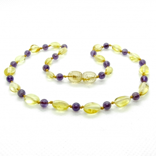 Amber & Purple Amethysts Necklace 303