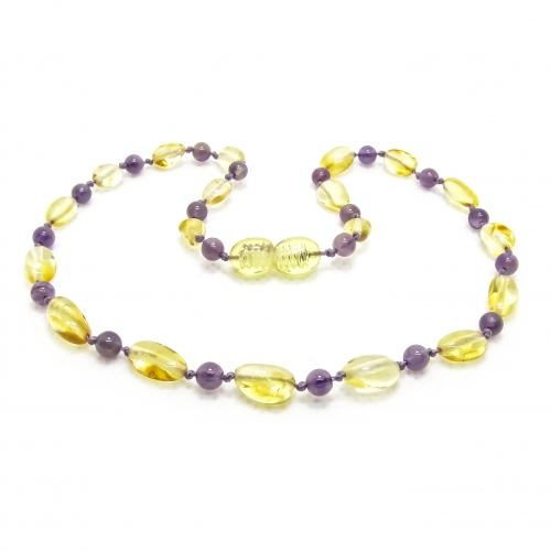Amber & Purple Amethysts Teething Necklace 303 - purple