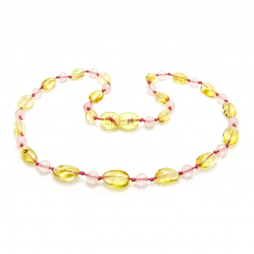Amber Teething Necklace 284 - pink