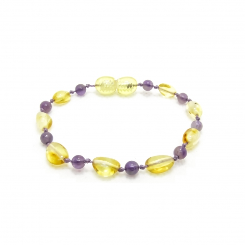 Amber & Purple Amethysts Teething Bracelet 5042 - purple